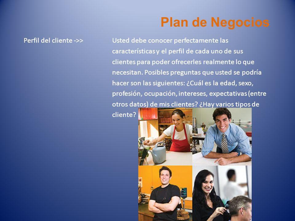 Plan de Negocios Perfil del cliente ->> Usted debe conocer perfectamente las características y el perfil de cada uno de sus clientes para poder ofrece
