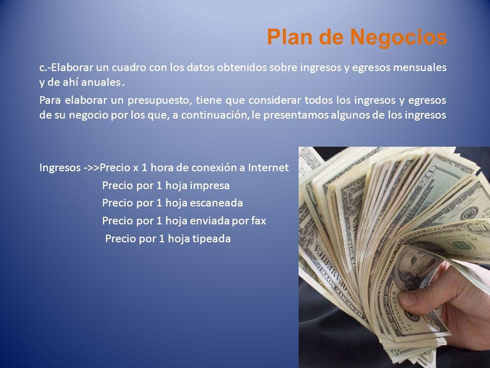 Plan de Negocios c.-Elaborar un cuadro con los datos obtenidos sobre ingresos y egresos mensuales y de ahí anuales. Para elaborar un presupuesto, tien