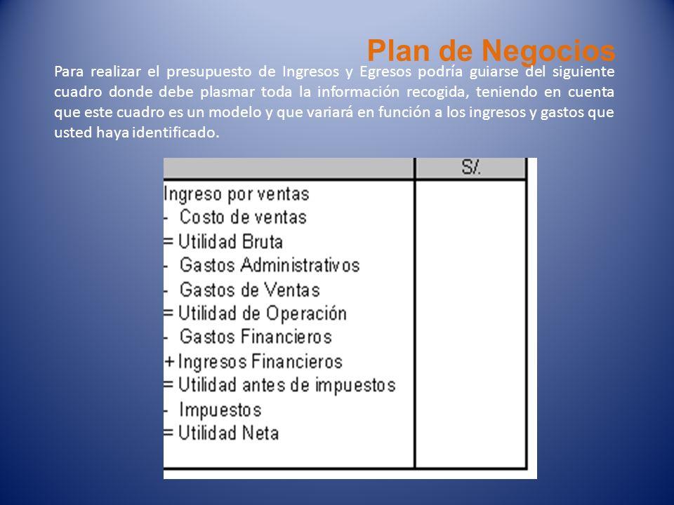 Plan de Negocios Para realizar el presupuesto de Ingresos y Egresos podría guiarse del siguiente cuadro donde debe plasmar toda la información recogid