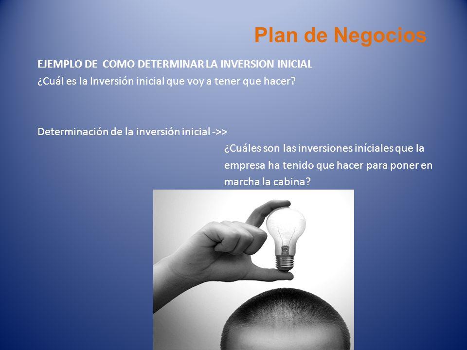 Plan de Negocios EJEMPLO DE COMO DETERMINAR LA INVERSION INICIAL ¿Cuál es la Inversión inicial que voy a tener que hacer? Determinación de la inversió