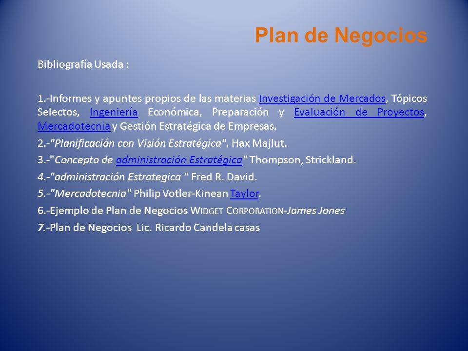 Plan de Negocios Bibliografía Usada : 1.-Informes y apuntes propios de las materias Investigación de Mercados, Tópicos Selectos, Ingeniería Económica,