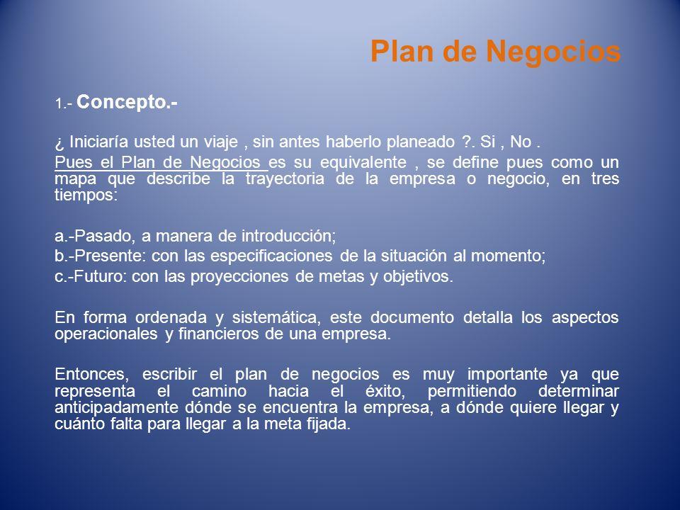 Plan de Negocios 1.- Concepto.- ¿ Iniciaría usted un viaje, sin antes haberlo planeado ?. Si, No. Pues el Plan de Negocios es su equivalente, se defin