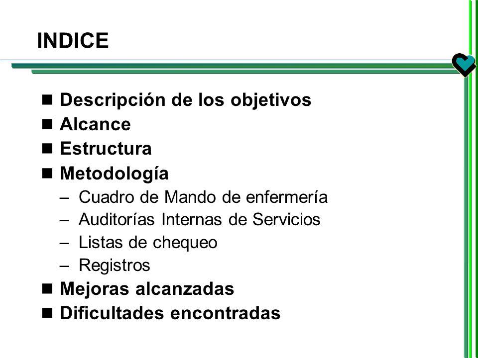 INDICE Descripción de los objetivos Alcance Estructura Metodología –Cuadro de Mando de enfermería –Auditorías Internas de Servicios –Listas de chequeo