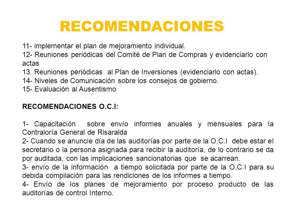 RECOMENDACIONES 11- implementar el plan de mejoramiento individual.