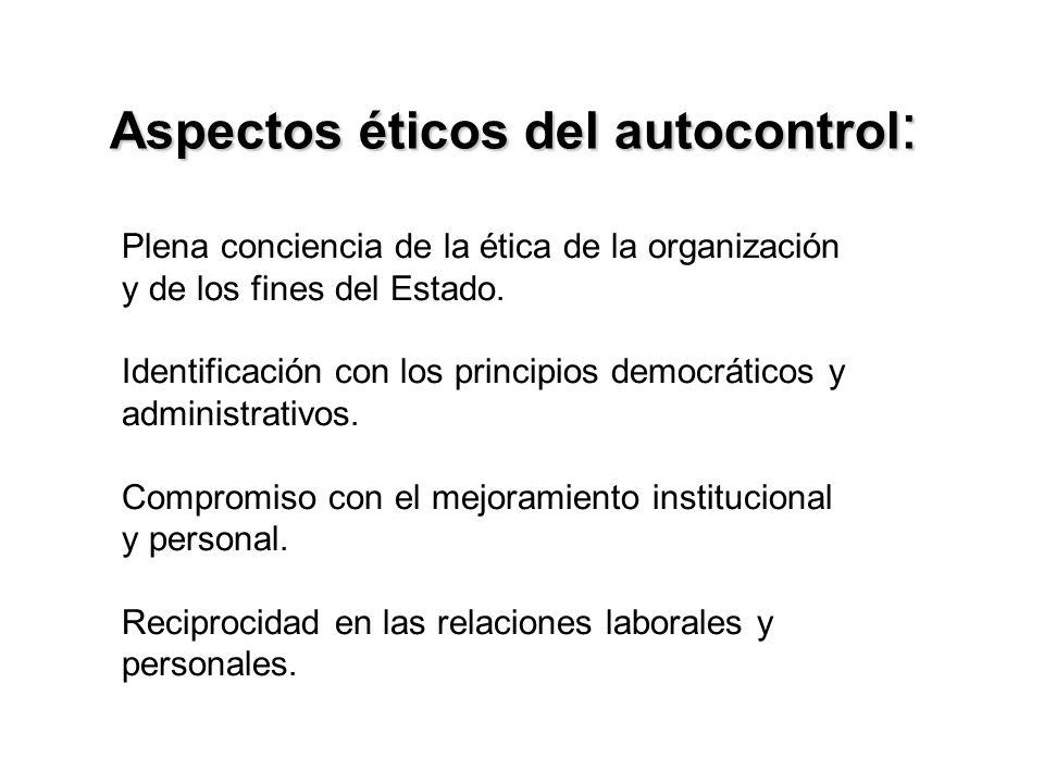 Aspectos éticos del autocontrol : Plena conciencia de la ética de la organización y de los fines del Estado.