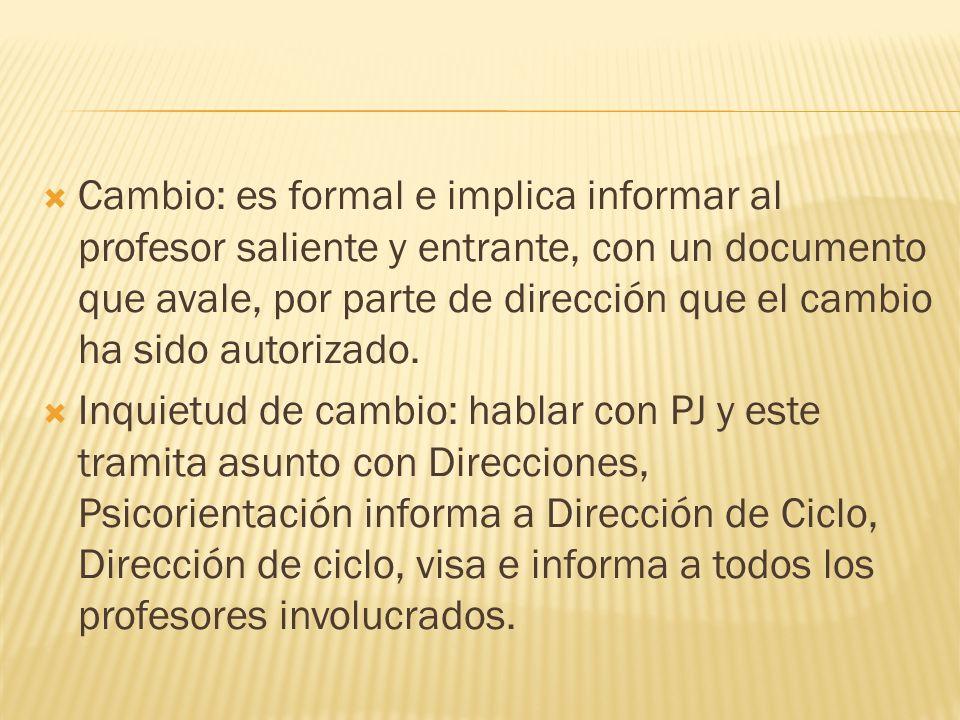 Cambio: es formal e implica informar al profesor saliente y entrante, con un documento que avale, por parte de dirección que el cambio ha sido autoriz