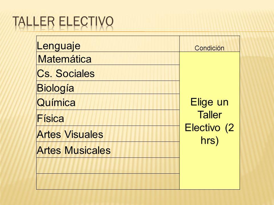 Lenguaje Condición Matemática Elige un Taller Electivo (2 hrs) Cs. Sociales Biología Química Física Artes Visuales Artes Musicales