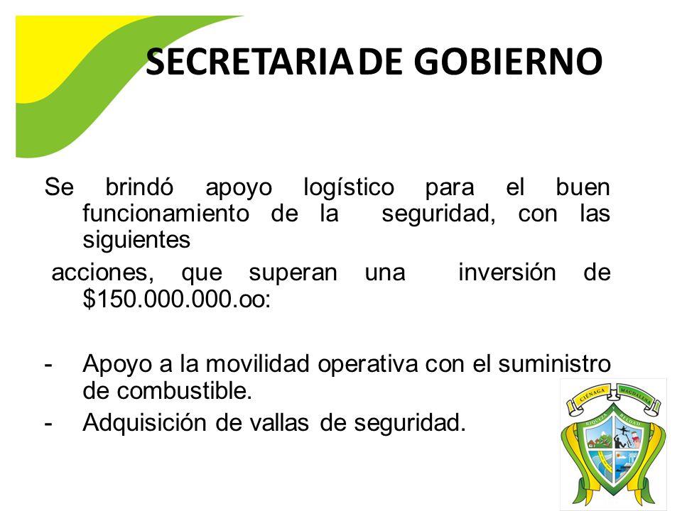 SECRETARIA DE GOBIERNO Se brindó apoyo logístico para el buen funcionamiento de la seguridad, con las siguientes acciones, que superan una inversión de $150.000.000.oo: -Apoyo a la movilidad operativa con el suministro de combustible.