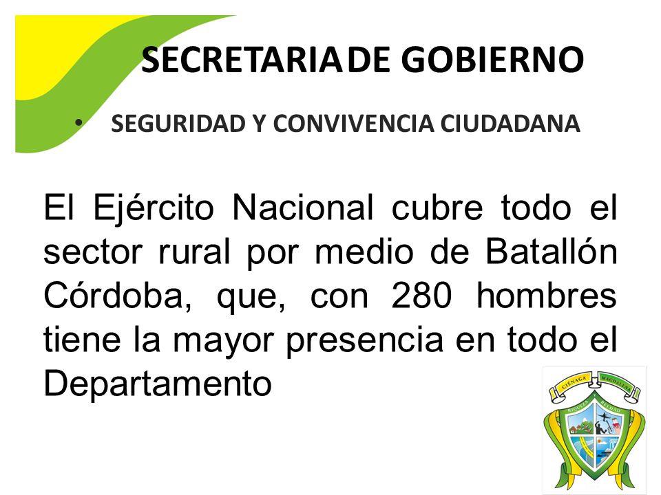 SECRETARIA DE GOBIERNO El Ejército Nacional cubre todo el sector rural por medio de Batallón Córdoba, que, con 280 hombres tiene la mayor presencia en todo el Departamento SEGURIDAD Y CONVIVENCIA CIUDADANA