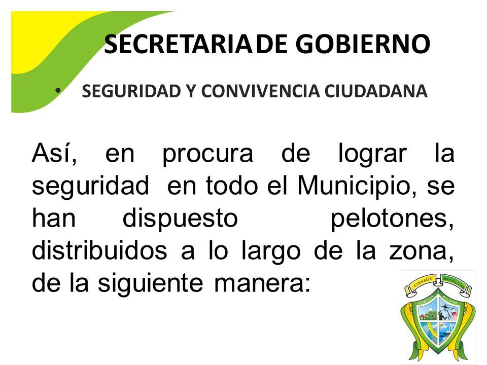 SECRETARIA DE GOBIERNO SEGURIDAD Y CONVIVENCIA CIUDADANA Así, en procura de lograr la seguridad en todo el Municipio, se han dispuesto pelotones, distribuidos a lo largo de la zona, de la siguiente manera:
