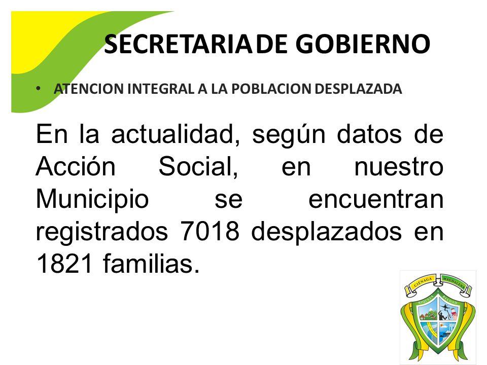 SECRETARIA DE GOBIERNO ATENCION INTEGRAL A LA POBLACION DESPLAZADA En la actualidad, según datos de Acción Social, en nuestro Municipio se encuentran registrados 7018 desplazados en 1821 familias.