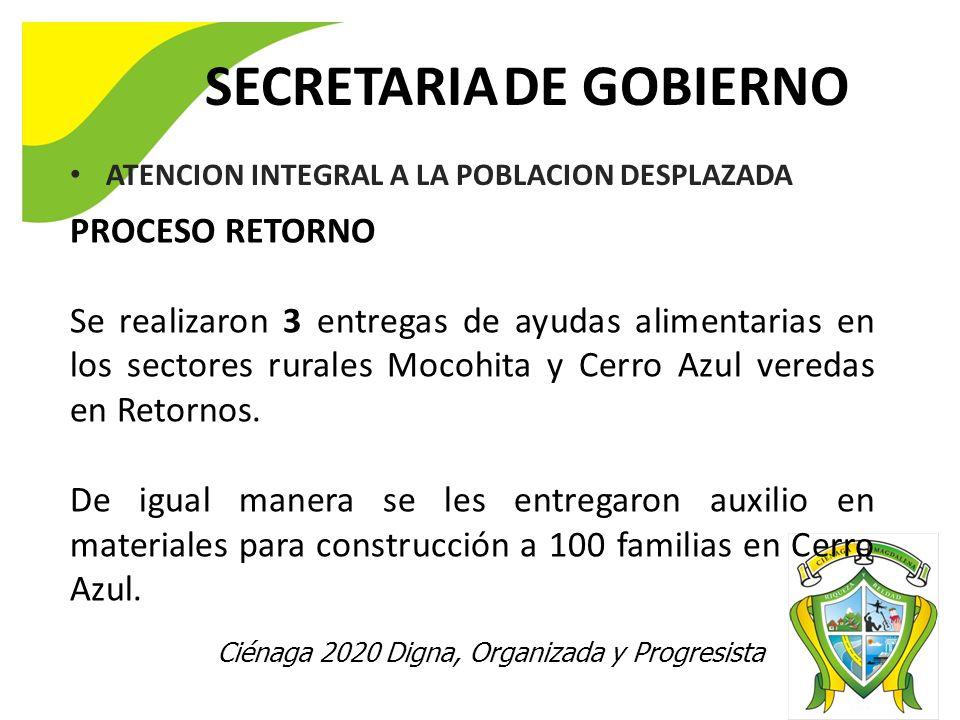 SECRETARIA DE GOBIERNO Ciénaga 2020 Digna, Organizada y Progresista ATENCION INTEGRAL A LA POBLACION DESPLAZADA PROCESO RETORNO Se realizaron 3 entregas de ayudas alimentarias en los sectores rurales Mocohita y Cerro Azul veredas en Retornos.