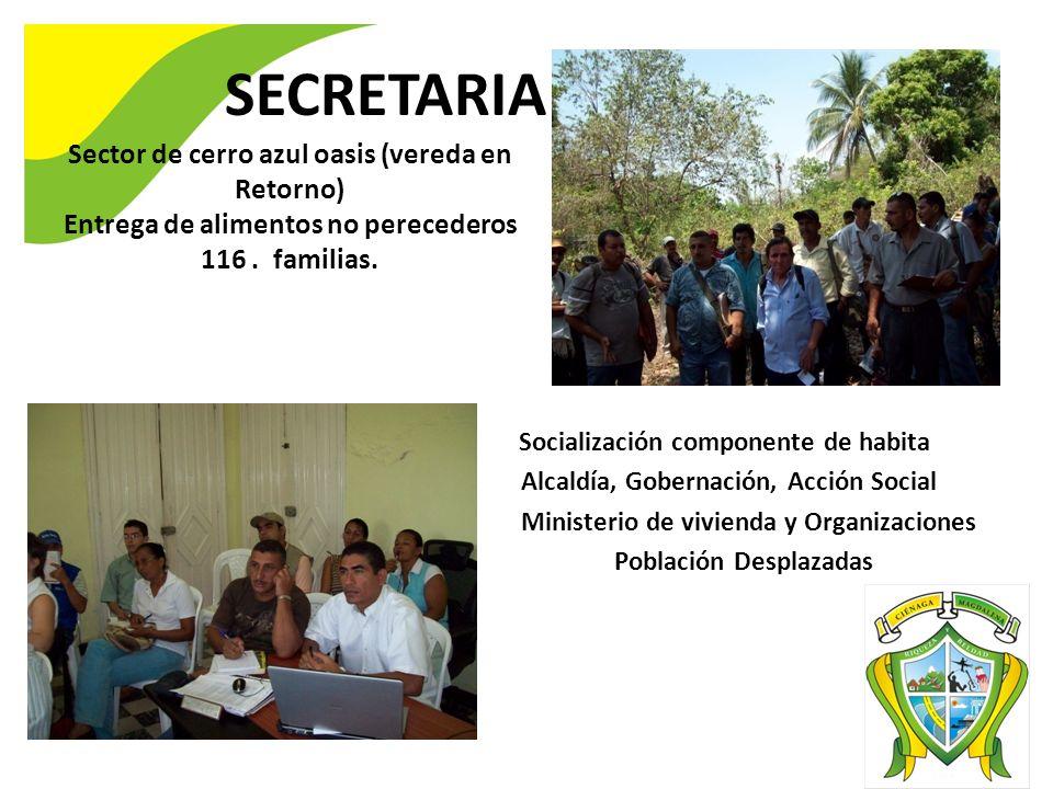 SECRETARIA DE GOBIERNO Sector de cerro azul oasis (vereda en Retorno) Entrega de alimentos no perecederos 116. familias. Socialización componente de h