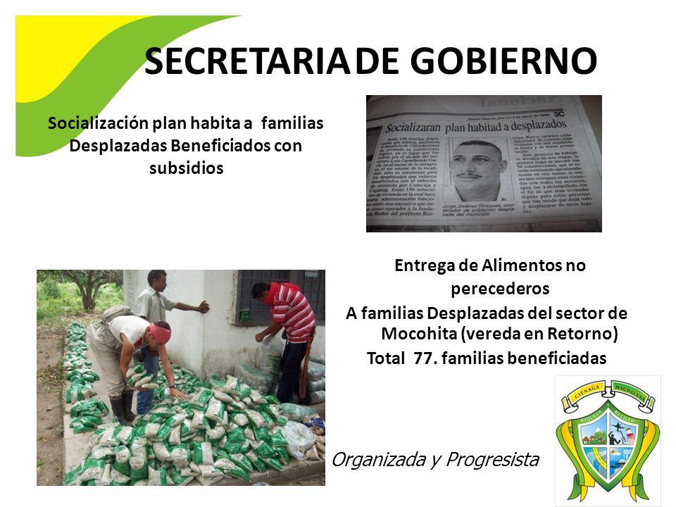 SECRETARIA DE GOBIERNO Ciénaga 2020 Digna, Organizada y Progresista Socialización plan habita a familias Desplazadas Beneficiados con subsidios Entreg