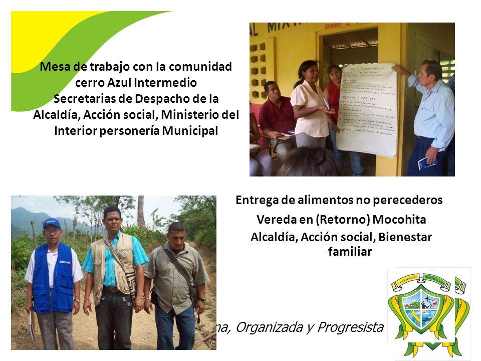 Ciénaga 2020 Digna, Organizada y Progresista Mesa de trabajo con la comunidad cerro Azul Intermedio Secretarias de Despacho de la Alcaldía, Acción soc