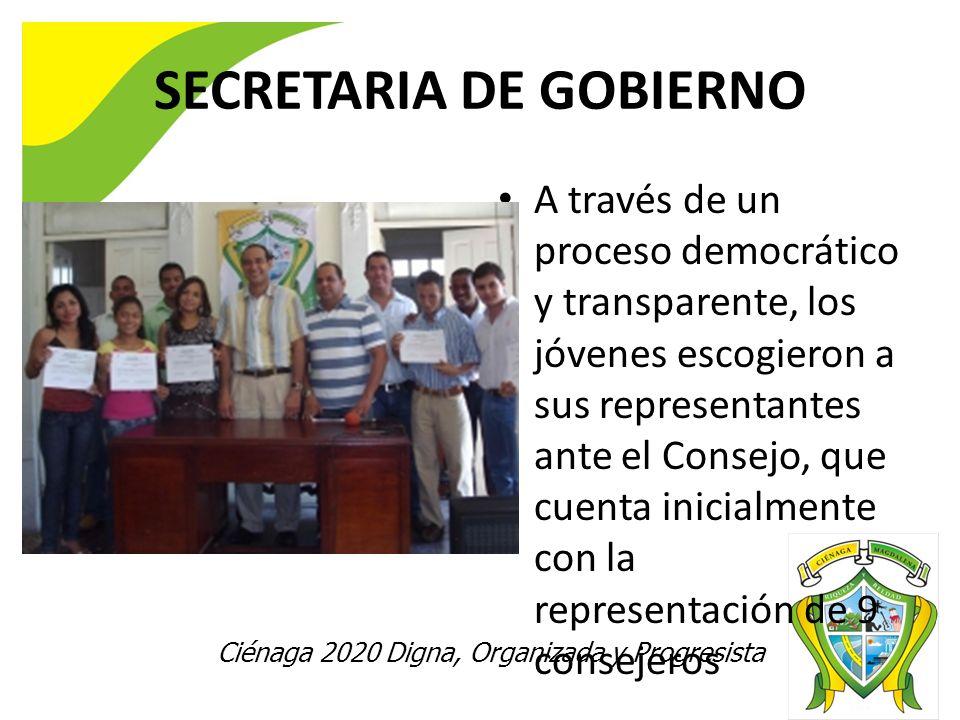 Ciénaga 2020 Digna, Organizada y Progresista SECRETARIA DE GOBIERNO A través de un proceso democrático y transparente, los jóvenes escogieron a sus representantes ante el Consejo, que cuenta inicialmente con la representación de 9 consejeros