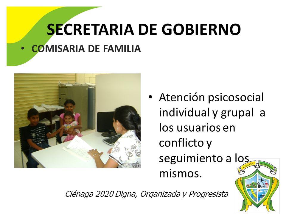 Ciénaga 2020 Digna, Organizada y Progresista SECRETARIA DE GOBIERNO COMISARIA DE FAMILIA Atención individual de usuarios en conflicto. Atención psicos