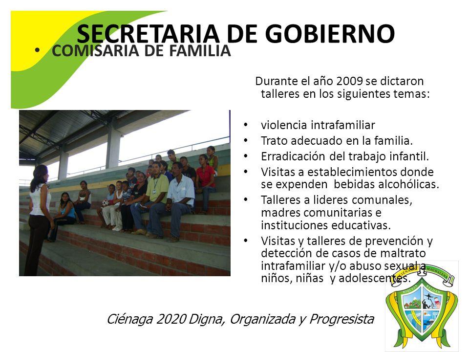 Ciénaga 2020 Digna, Organizada y Progresista SECRETARIA DE GOBIERNO COMISARIA DE FAMILIA Atención individual de usuarios en conflicto. Durante el año