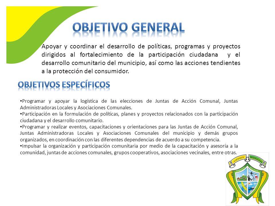 Apoyar y coordinar el desarrollo de políticas, programas y proyectos dirigidos al fortalecimiento de la participación ciudadana y el desarrollo comunitario del municipio, así como las acciones tendientes a la protección del consumidor.