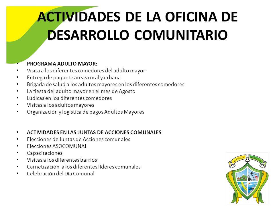ACTIVIDADES DE LA OFICINA DE DESARROLLO COMUNITARIO PROGRAMA ADULTO MAYOR: Visita a los diferentes comedores del adulto mayor Entrega de paquete áreas