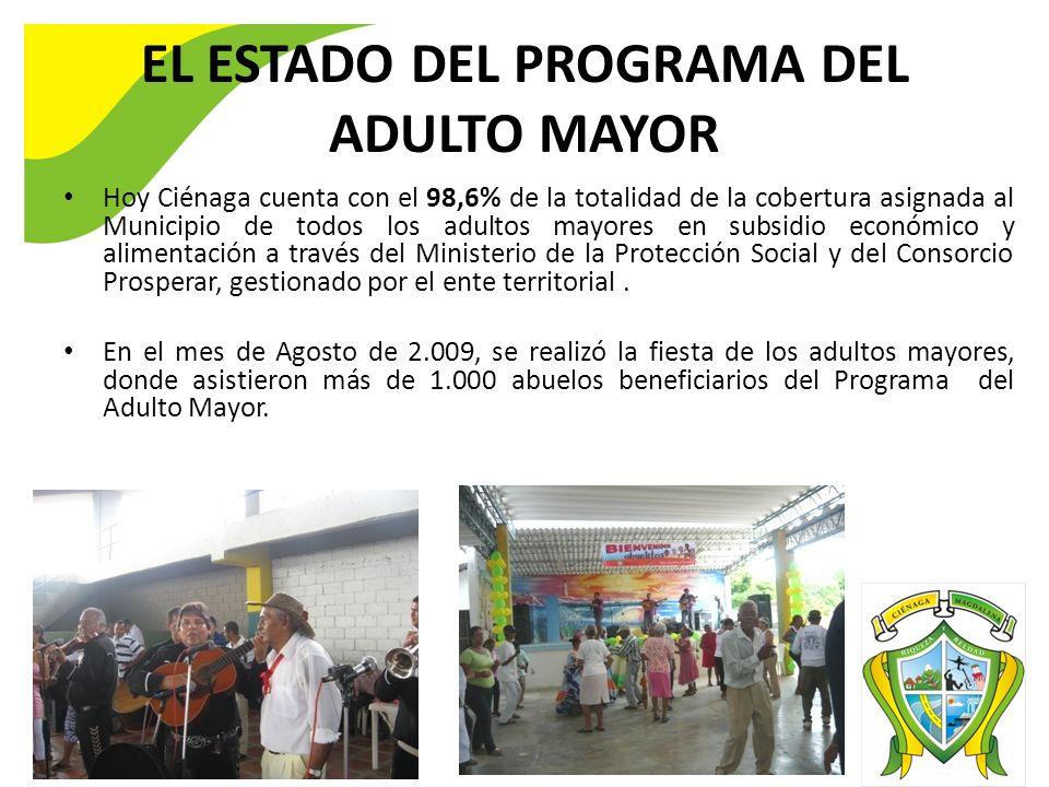 EL ESTADO DEL PROGRAMA DEL ADULTO MAYOR Hoy Ciénaga cuenta con el 98,6% de la totalidad de la cobertura asignada al Municipio de todos los adultos may