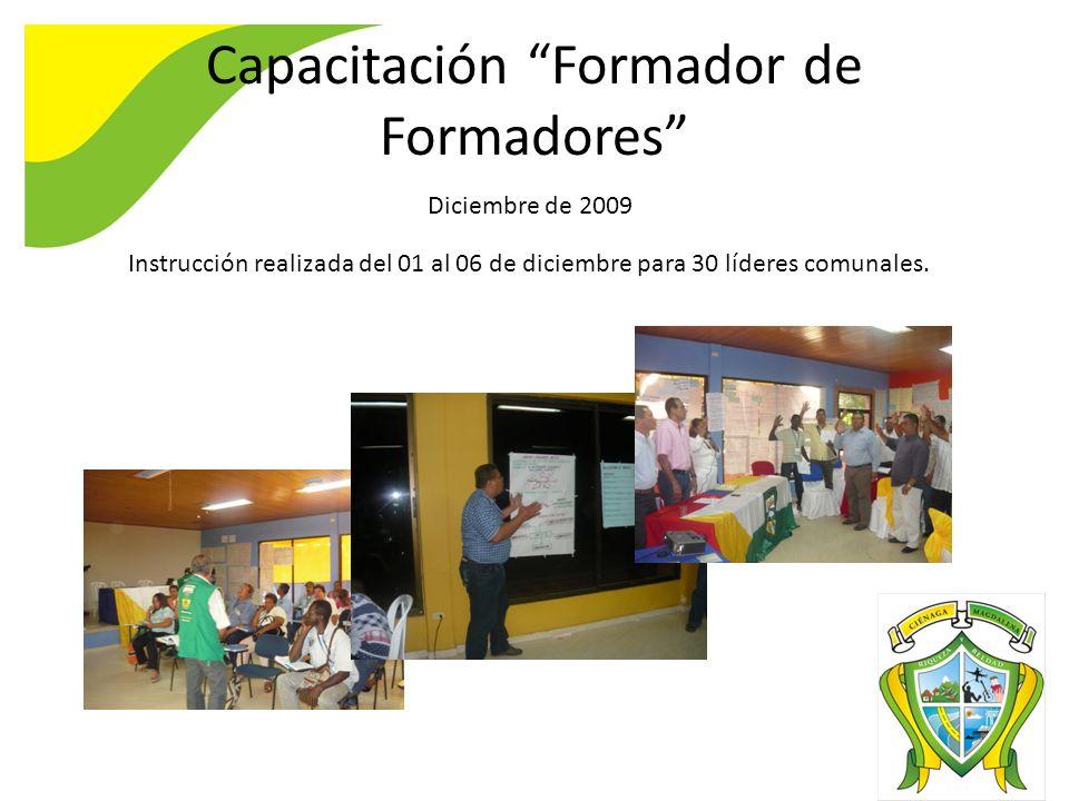 Capacitación Formador de Formadores Diciembre de 2009 Instrucción realizada del 01 al 06 de diciembre para 30 líderes comunales.