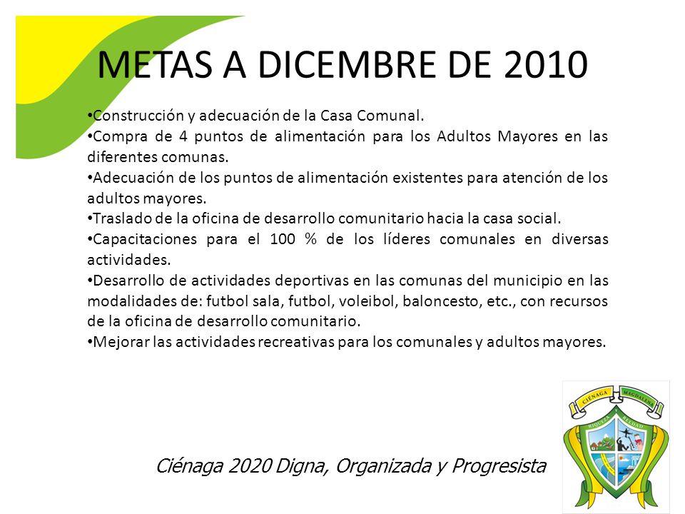 METAS A DICEMBRE DE 2010 Construcción y adecuación de la Casa Comunal. Compra de 4 puntos de alimentación para los Adultos Mayores en las diferentes c
