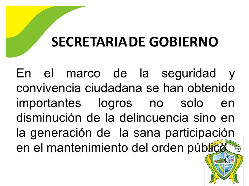 SECRETARIA DE GOBIERNO En el marco de la seguridad y convivencia ciudadana se han obtenido importantes logros no solo en disminución de la delincuencia sino en la generación de la sana participación en el mantenimiento del orden público