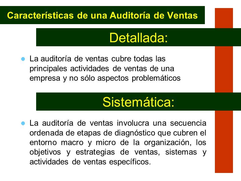 La auditoría de ventas cubre todas las principales actividades de ventas de una empresa y no sólo aspectos problemáticos Características de una Audito