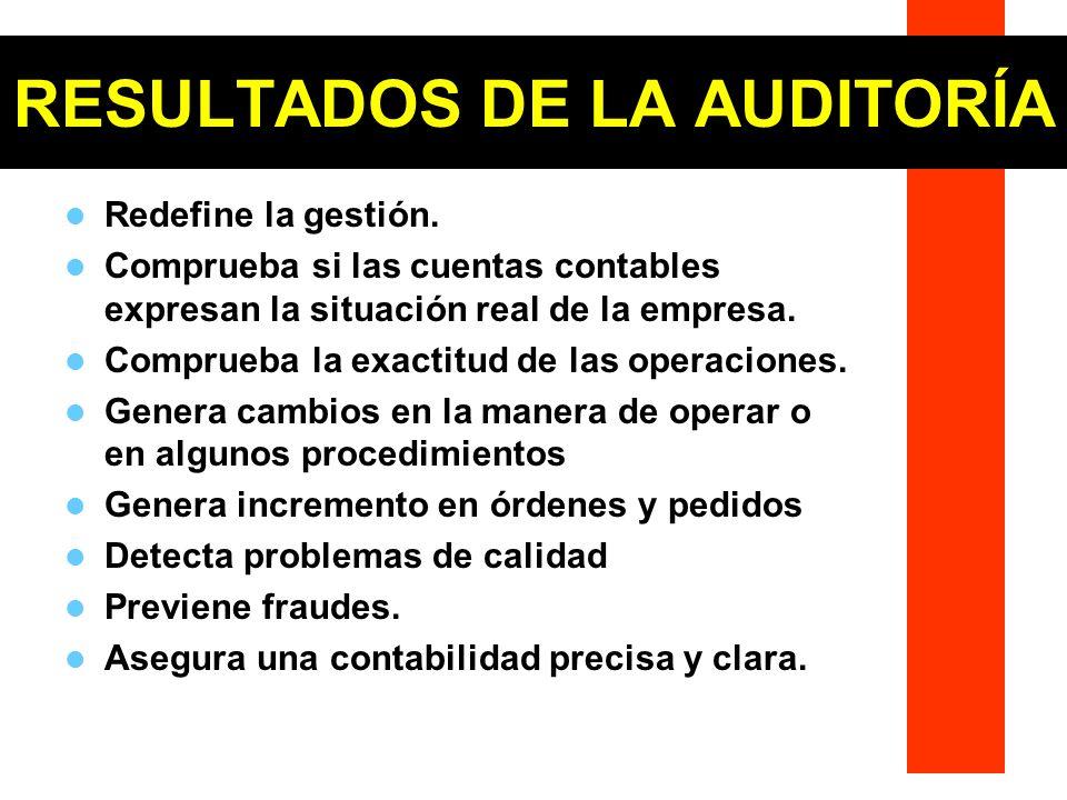RESULTADOS DE LA AUDITORÍA Redefine la gestión. Comprueba si las cuentas contables expresan la situación real de la empresa. Comprueba la exactitud de
