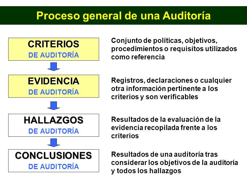 CRITERIOS DE AUDITORÍA EVIDENCIA HALLAZGOS CONCLUSIONES Conjunto de políticas, objetivos, procedimientos o requisitos utilizados como referencia Regis