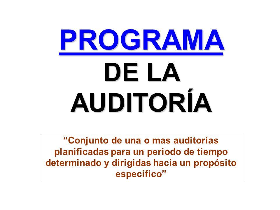 PROGRAMA DE LA AUDITORÍA Conjunto de una o mas auditorías planificadas para un periodo de tiempo determinado y dirigidas hacia un propósito especifico