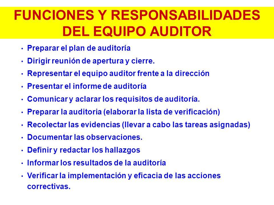 FUNCIONES Y RESPONSABILIDADES DEL EQUIPO AUDITOR Preparar el plan de auditoría Dirigir reunión de apertura y cierre. Representar el equipo auditor fre