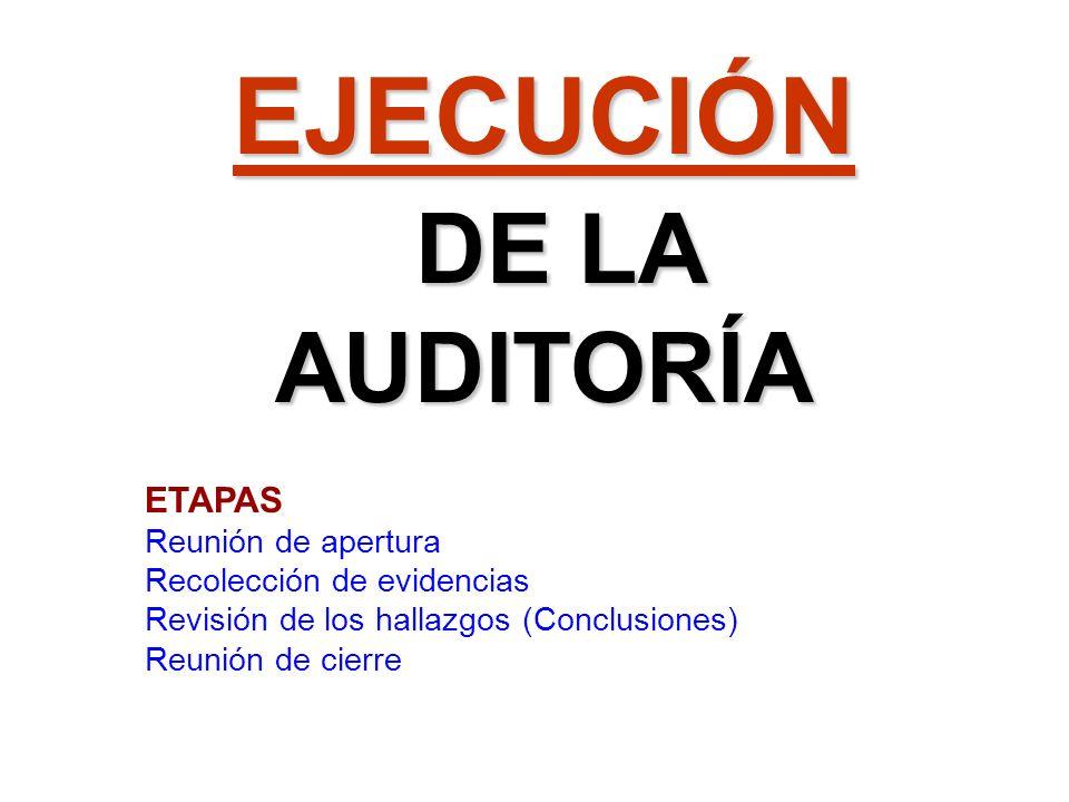 EJECUCIÓN DE LA AUDITORÍA DE LA AUDITORÍA ETAPAS Reunión de apertura Recolección de evidencias Revisión de los hallazgos (Conclusiones) Reunión de cie