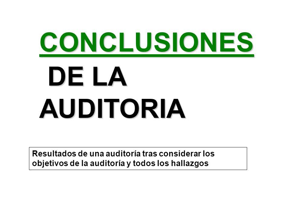 CONCLUSIONES DE LA AUDITORIA DE LA AUDITORIA Resultados de una auditoría tras considerar los objetivos de la auditoría y todos los hallazgos