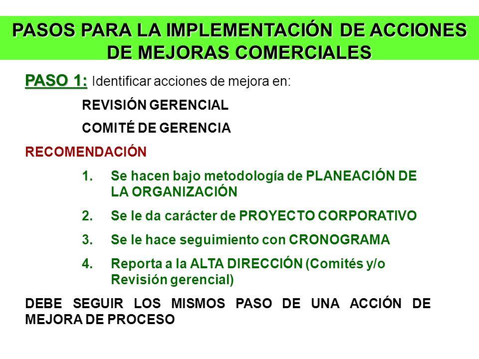 PASOS PARA LA IMPLEMENTACIÓN DE ACCIONES DE MEJORAS COMERCIALES PASO 1: PASO 1: Identificar acciones de mejora en: REVISIÓN GERENCIAL COMITÉ DE GERENC