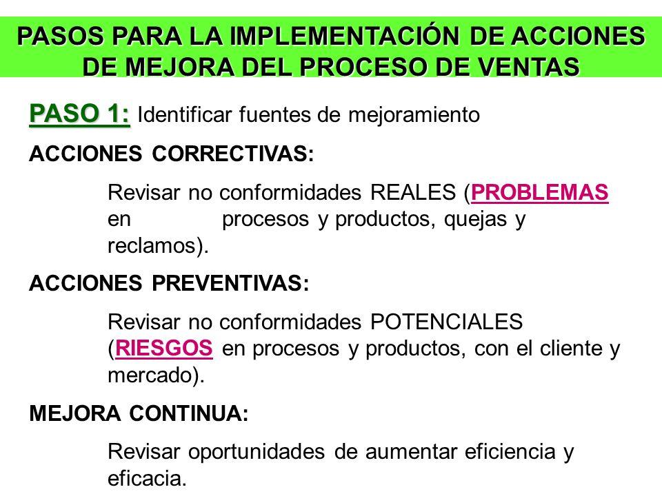 PASOS PARA LA IMPLEMENTACIÓN DE ACCIONES DE MEJORA DEL PROCESO DE VENTAS PASO 1: PASO 1: Identificar fuentes de mejoramiento ACCIONES CORRECTIVAS: Rev