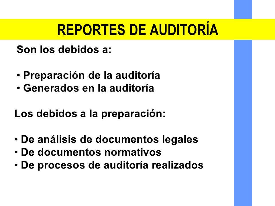 REPORTES DE AUDITORÍA Son los debidos a: Preparación de la auditoría Generados en la auditoría Los debidos a la preparación: De análisis de documentos