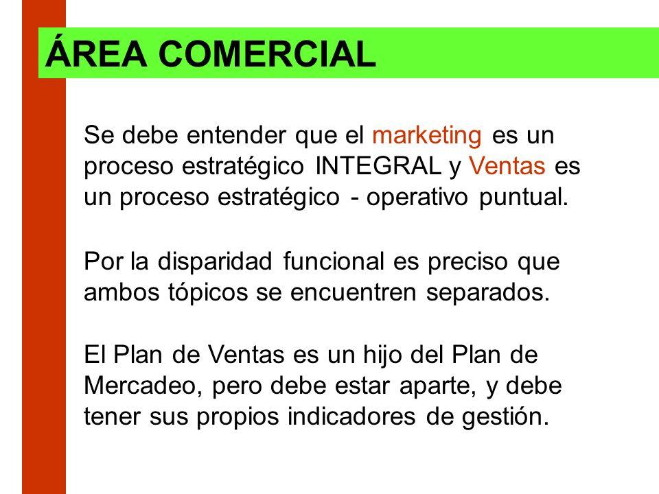 Se debe entender que el marketing es un proceso estratégico INTEGRAL y Ventas es un proceso estratégico - operativo puntual. ÁREA COMERCIAL Por la dis