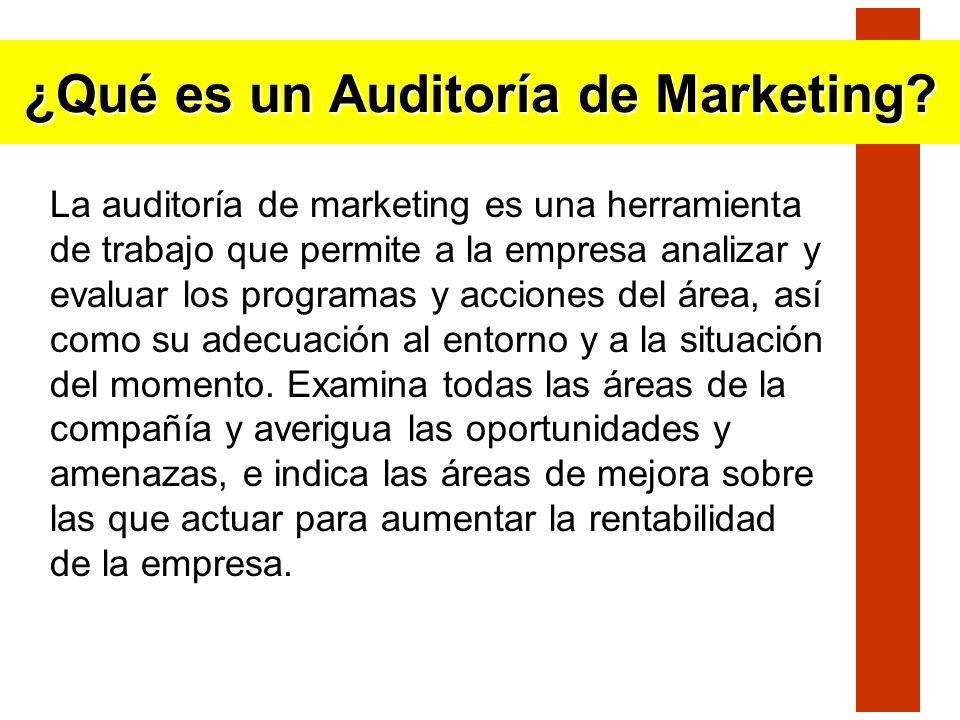 La auditoría de marketing es una herramienta de trabajo que permite a la empresa analizar y evaluar los programas y acciones del área, así como su ade
