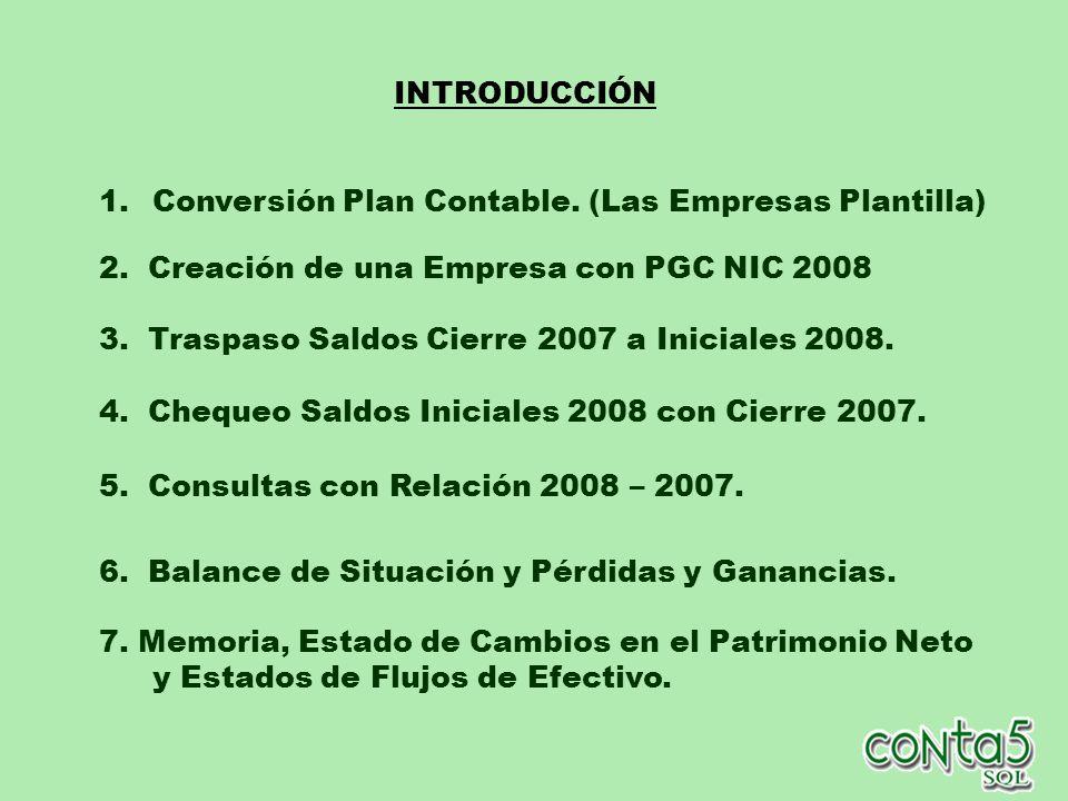 Empresa: Plantilla Plan Contable NIC Empresa : Plantilla Plan Contable 1990 TABLA DE CORRESPONDENCIA de CUENTAS.