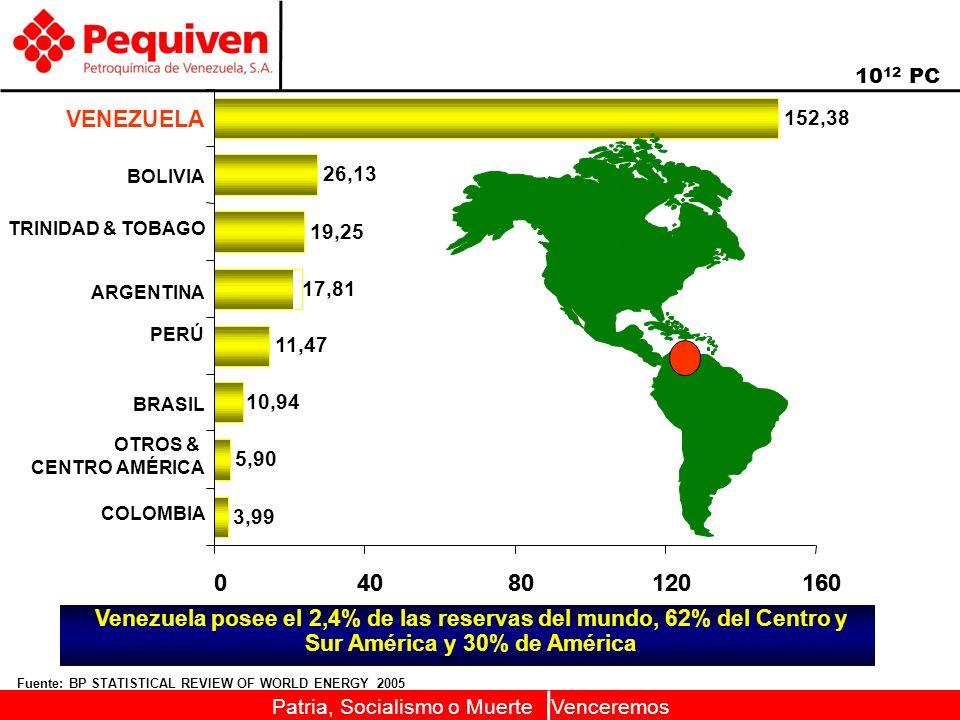 Patria, Socialismo o Muerte Venceremos 04080120160 Fuente: BP STATISTICAL REVIEW OF WORLD ENERGY 2005 10 12 PC Venezuela posee el 2,4% de las reservas del mundo, 62% del Centro y Sur América y 30% de América 04080120160 PERÚ ARGENTINA 3,99 5,90 10,94 11,47 17,81 19,25 26,13 152,38 BOLIVIA TRINIDAD & TOBAGO COLOMBIA OTROS & CENTRO AMÉRICA BRASIL VENEZUELA