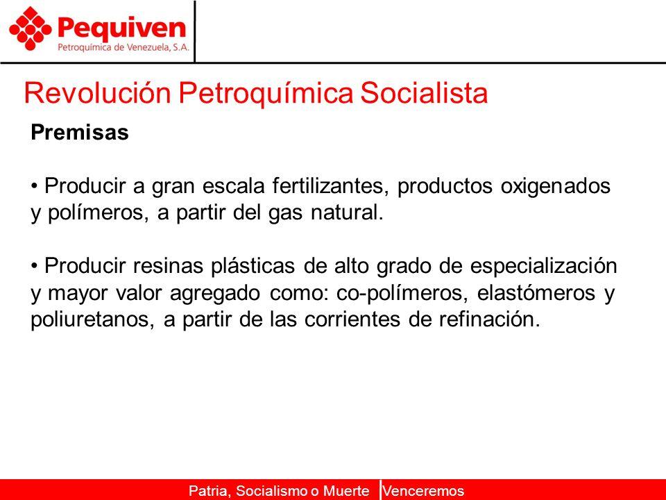 Patria, Socialismo o Muerte Venceremos Revolución Petroquímica Socialista Premisas Producir a gran escala fertilizantes, productos oxigenados y polímeros, a partir del gas natural.