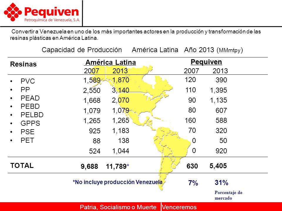Patria, Socialismo o Muerte Venceremos Convertir a Venezuela en uno de los más importantes actores en la producción y transformación de las resinas plásticas en América Latina.
