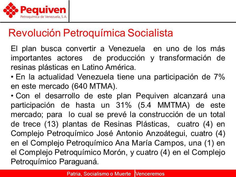 Patria, Socialismo o Muerte Venceremos Revolución Petroquímica Socialista El plan busca convertir a Venezuela en uno de los más importantes actores de producción y transformación de resinas plásticas en Latino América.
