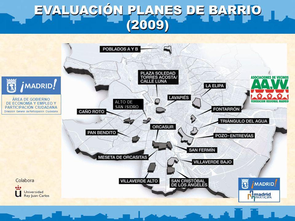 1 EVALUACIÓN PLANES DE BARRIO 2009 Planes de Barrio - Concepto Iniciativa del Ayuntamiento de Madrid, de acuerdo con la Federación Regional de Asociaciones de Vecinos de Madrid (FRAVM).