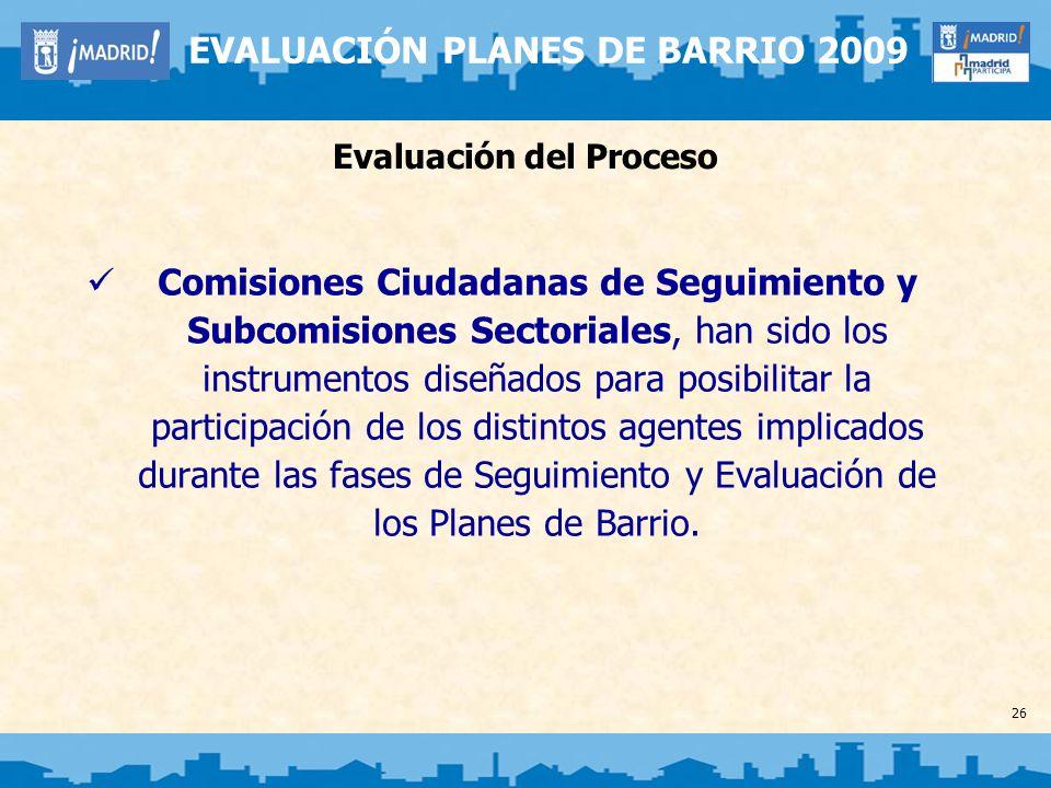 26 EVALUACIÓN PLANES DE BARRIO 2009 Comisiones Ciudadanas de Seguimiento y Subcomisiones Sectoriales, han sido los instrumentos diseñados para posibil