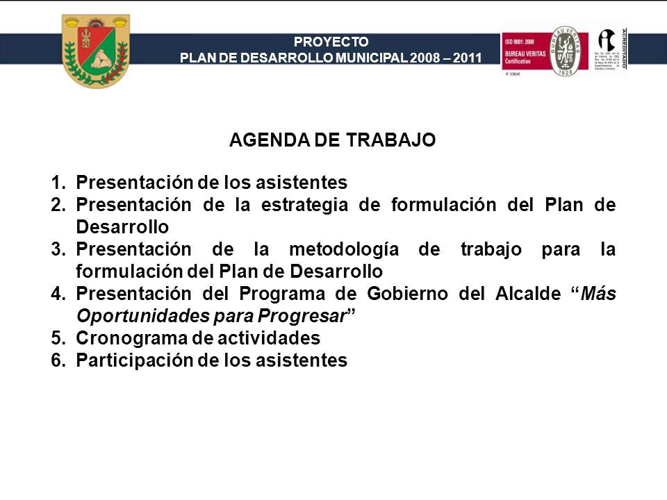 PROYECTO PLAN DE DESARROLLO MUNICIPAL 2008 – 2011 AGENDA DE TRABAJO 1.Presentación de los asistentes 2.Presentación de la estrategia de formulación de