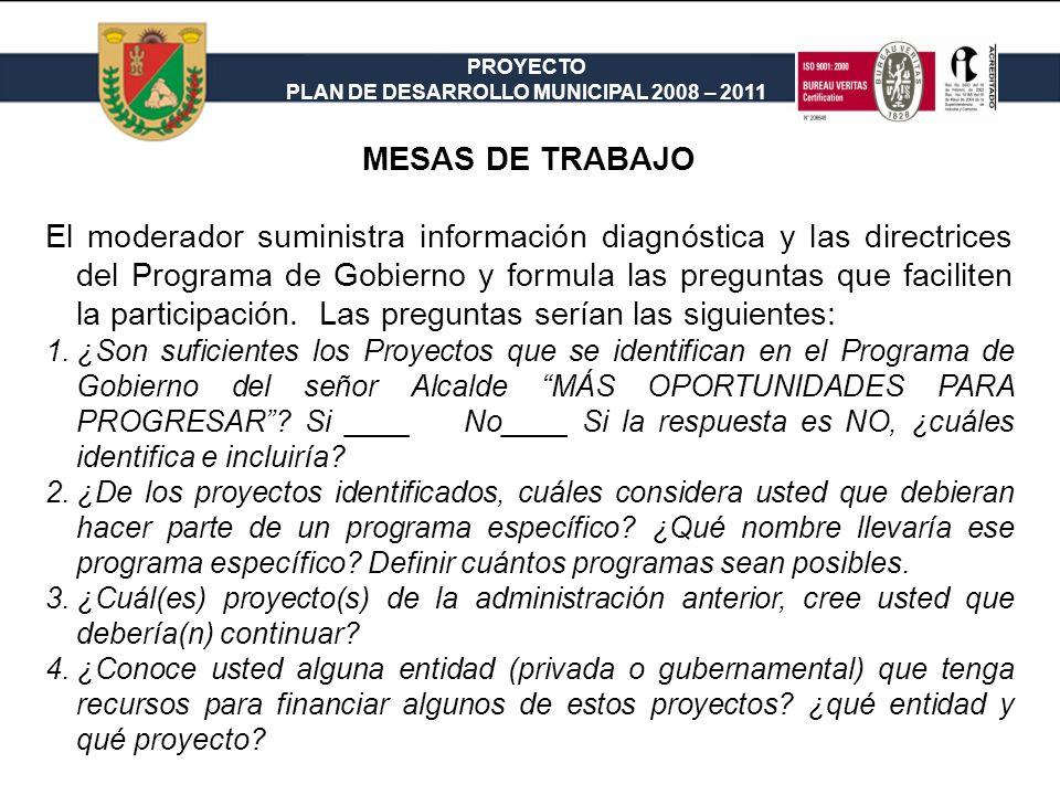 PROYECTO PLAN DE DESARROLLO MUNICIPAL 2008 – 2011 MESAS DE TRABAJO Orden del Día 1.Apertura, en la cual se hará una exposición del objetivo de las mesas (formular el Plan de Desarrollo Municipal) y de la metodología de trabajo.