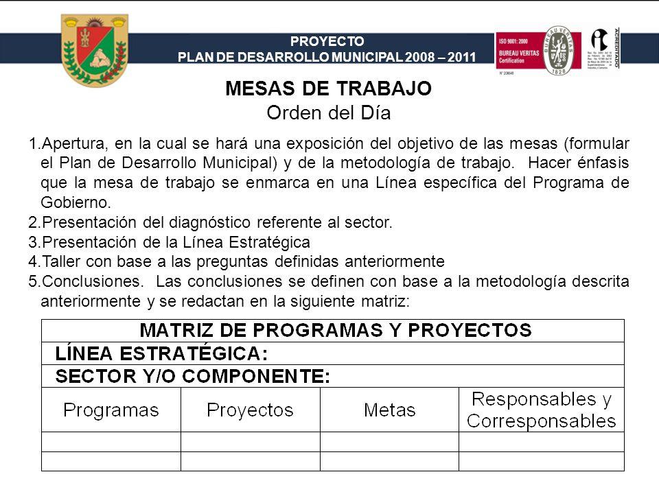 PROYECTO PLAN DE DESARROLLO MUNICIPAL 2008 – 2011 MESAS DE TRABAJO Orden del Día 1.Apertura, en la cual se hará una exposición del objetivo de las mes